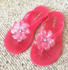 Jelly Beans Pink Flip Flop Sandal Shoes Flower Vinyl Beach Pool Swim Girls 12