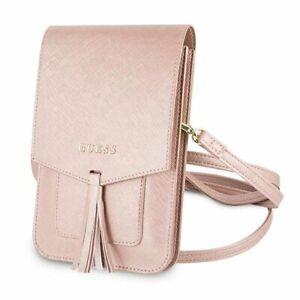 Guess Stilvolle Luxus Handtasche Tasche mit Innentaschen Fächer Pink Saffiano