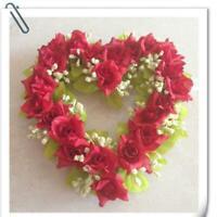 Vintage Art Simulation Flowers Wreath Heart-shaped Garland Decor Wedding Pa E5I4