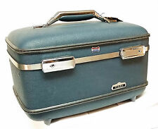 Suitcase American Tourister Blue Tiara Makeup Case Key Removable Mirror Vintage
