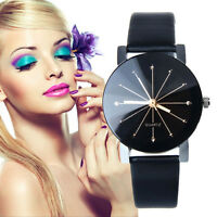 Womens Black Dial Leather Analog Quartz Watch Stainless Steel Date Wrist Watches