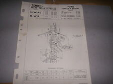 ZENITH 36 WIA CARB FORD ZEPHYR ZODIAC MK2 SPARE PARTS SHEET