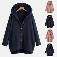 Women Hooded Long Sleeve Pocket Solid Fleece Coat Jacket Plus Size Cardigan UK