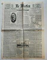 N954 La Une Du Journal Le Matin 8 mai 1915 lusitania torpillé et coulé