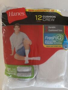 Hanes Men's 12 Pair Cushion Crew Socks Size 6-12 FreshIQ
