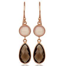 Chalcedony, Smoky Gemstone Handmade Dangle Earrings Bezel Set Jewelry