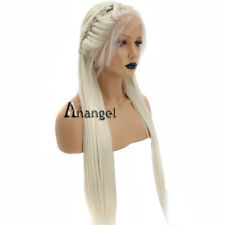 Anogol Braided Blonde Synthetic Lace Front Wig With Baby Hair Long Straight Wigs