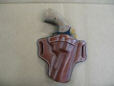 "Smith & Wesson 10, 19, 66 4"" Leather 2 Slot Pancake Belt Holster CCW TAN RH"