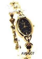 New Citizen Ladies Gold-tone, Black Oval- dial Dress Watch
