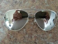 """Le Specs """"Drop Top"""" Gold Toned Aviator Frames Mirrored Lenses Used Nice"""