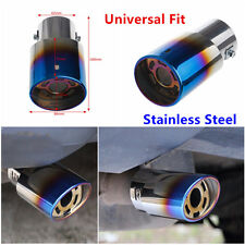 Universal Stainless Steel Auto Car Rear Round Exhaust Pipe Tail Muffler Tip Blue