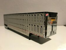 New Listing Cattle Trailer Tandem Axle Black Silver & Chrome Trailer Front 1/64th Dcp