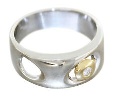 Anillo Noble Oro Blanco 585-14 Quilates, Dorado con 1 Brillante, Bicolor
