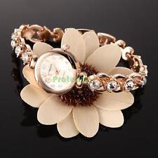 Fashion Women's Rhinestone Bracelet Steel Round Dial Quartz Crystal Wrist Watch