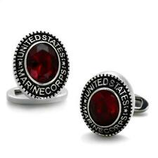 Cuff Links Stainless Steel Usmc Marine Corps Faceted Synthetic Siam Red Stone