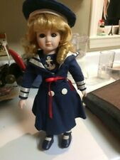 """Vintage sailor girl doll, navy dress anchor straw hat, 14"""" with stand"""