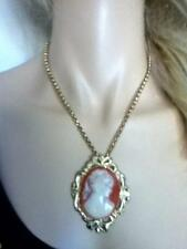 Vintage, Lady Shell Cameo Pendant Necklace- Brooch