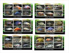 CICHLIDS FISH LAKE MALAWI 15 SOUVENIR SHEETS MNH UNPERFORATED