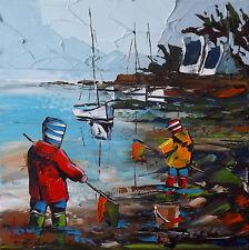 Bretagne JP DOUCHEZ Tableau Peinture huile sur toile au couteau Drouot Artmajeur