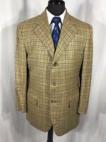 Faconnable Men's Gold Houndstooth Silk Linen Blend Blazer Jacket Sport Coat 41R