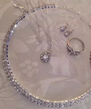 """DimontieChoker&sterSilver*18""""chain&pendant+earings&Free ring/in a Box"""