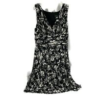 Connected Apperal Womens Dress Size 14 Black White Sundress Empire Waist NEW