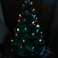VTG Ceramic Christmas Tree ATLANTIC MOLD 1970's Signed 17 Inches Tall (7B1)