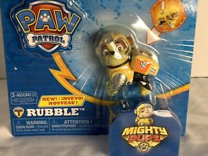 PAW Patrol Mighty Pups Rubble Figure with Light-up Badge and Paws