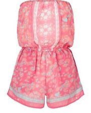 New Lipsy Michelle Keegan Pink Print Playsuit UK Size 8 pockets