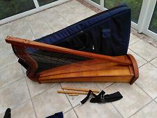 Chromatische Harfe, mit Lichtsystem, Tonabnehmer, Tasche und weiterem Zubehör