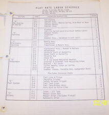 McCULLOCH FLAT RATE LABOR SCHEDULE OEM ILLUSTRATED PARTS LIST