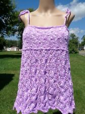 Knitted purple cotton camisole with an open back