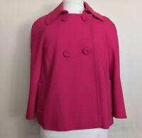 Phase Eight Fuchsia Pink Swing Jacket Long Sleeves UK Size 12 Big Buttons