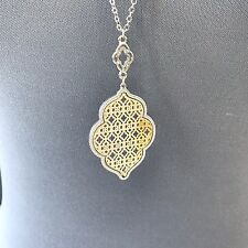 Silver Finished Chain Gold Color Filigree Design Pendant Necklace Earrings