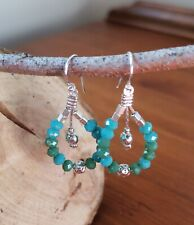 Reconstituted Turquoise and Silver Plated Teardrop Earrings, Blue Green Colour