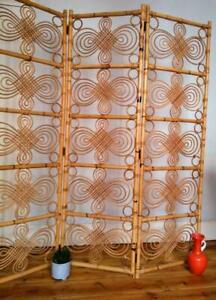 Vintage retro mid century Bamboo cane boho folding screen room divider