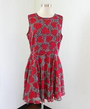 NWT Maison Jules Floral Heart Print Fit and Flare Dress Size L Red Pleated