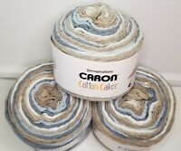 "CARON COTTON CAKES YARN by Yarnspirations ""Nested Blues"" NEW 3-pack Same Dye Lot"