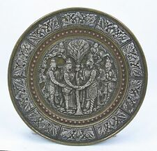 antique Indian Hindu offering - marriage Plate, silver repoussé, Radha & Krishna