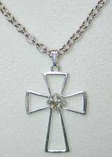 Cross Pendant Ctr Clear Crystal, Silver-plated Pewter