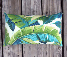 New 15x9 Tropical Palm Leaf Indoor Outdoor Lumbar Pillow -Sun & Water Resistant