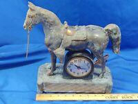Sessions Large Brass Bronze Horse Figural Clock Antique-VTG Cast Iron Statue