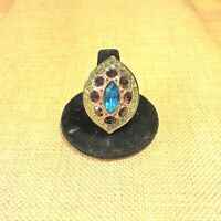 A Akkad 'LA FABULOSA PAISLEY' Art Deco Style Goldtone Marquise ring Size 8