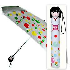 KOKESHI DOLL UMBRELLA White Folding w Hard Case Geisha Girl Japanese Lady China