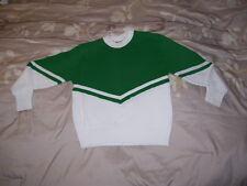 Cheerleader Sweater Green over White ( Green / White ) - Girls Size 12