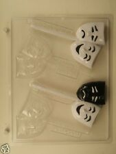 DRAMA COMEDY TRAGEDY MASKS LOLLIPOP CLEAR PLASTIC CHOCOLATE CANDY MOLD LCA016