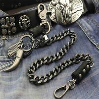Mens Leather & Metal Trucker Rocker Biker Hook Keychain Key Jean Wallet Chain US