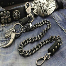 Mens Leather & Metal Trucker Rocker Biker Hook Keychain Key Jean Wallet Chain US