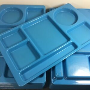 4 Blue Cambro School Cafeteria /Seniors Food Lunch Trays 915CW 6-Compartment USA