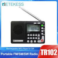 Retekess TR102 Portable FM/AM/SW Radio Sleep Timer World Band Receiver Recorder